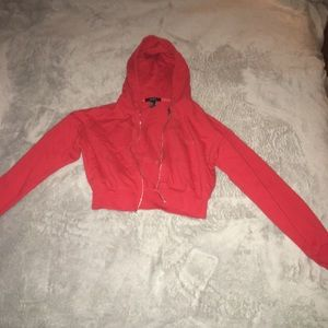 H&M Red Cropped Hoodie, Size Small